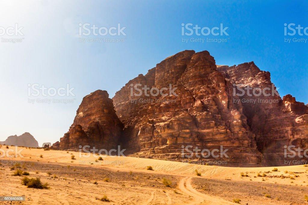 Yellow Sand Rock Formation Valley of Moon Wadi Rum Jordan stock photo