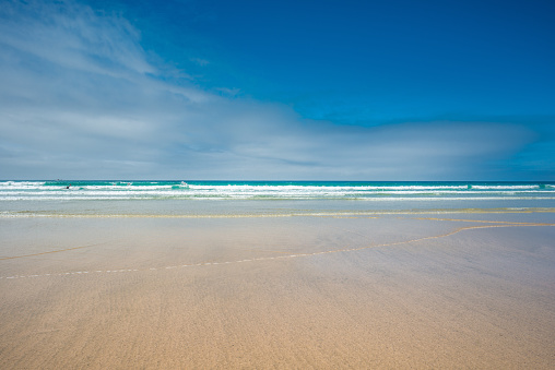 Yellow sands of Great Western beach in Newquay