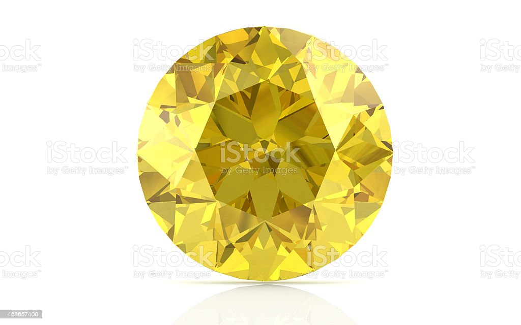 yellow sapphire on white background (high resolution 3D image) stock photo