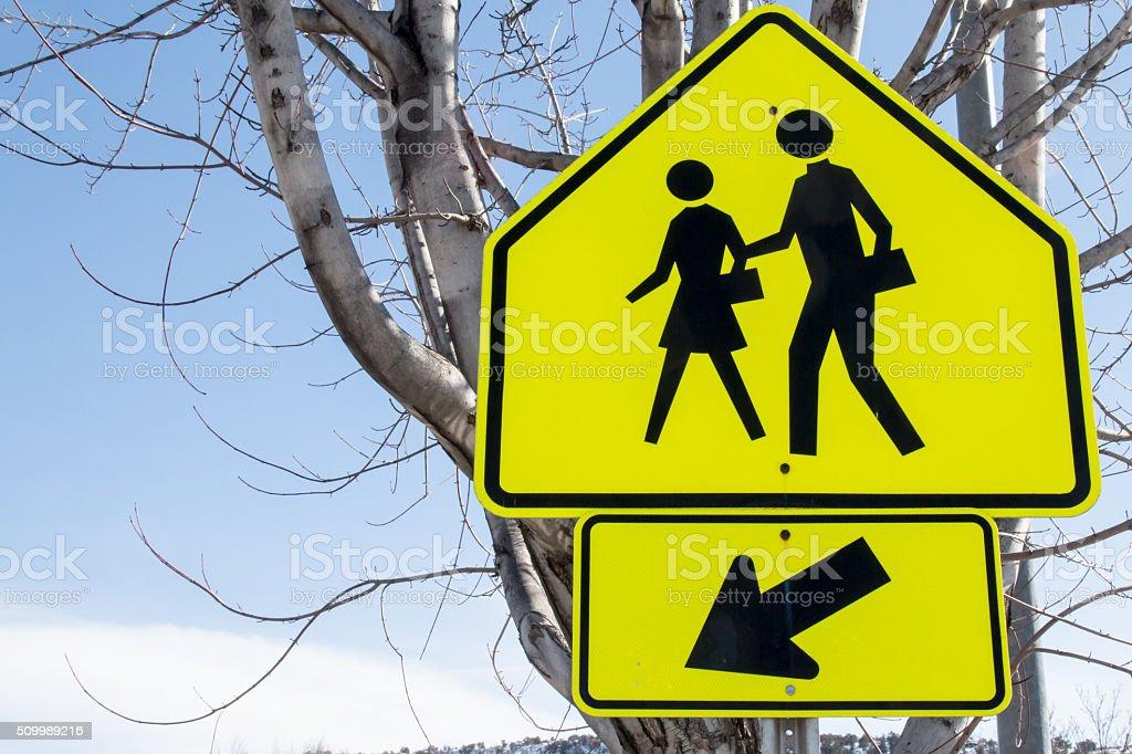 Yellow school children crossing sign stock photo