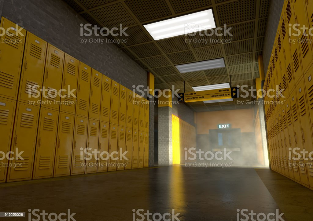 Yellow School Lockers Dirty stock photo