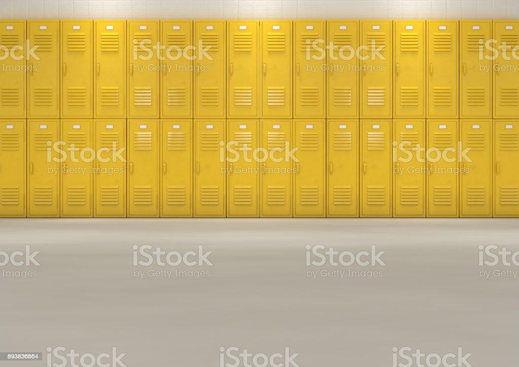 Yellow School Lockers stock photo