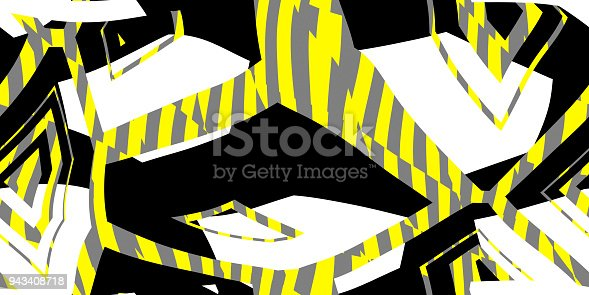 istock Yellow Seamless Prickly Scraps Background. Sharp Angular Shapes on Monochrome Texture. Prickly Contrast Ragged Flaps Backdrop. 943408718