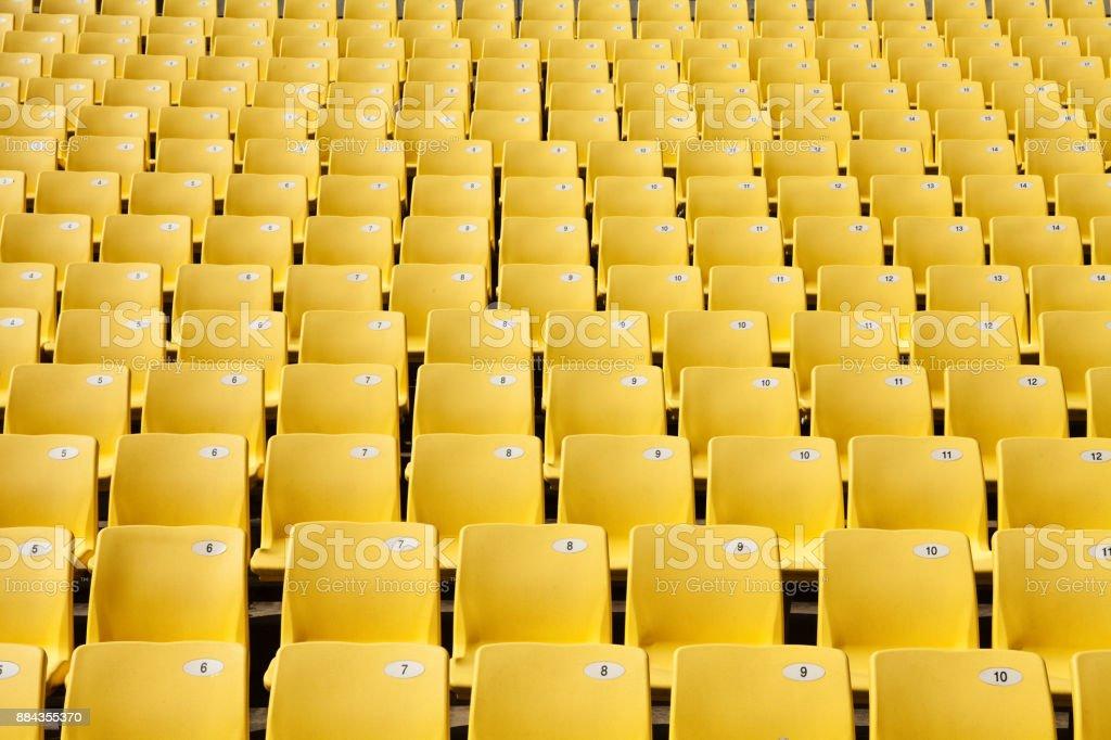 Yellow Seats in the stadium stock photo