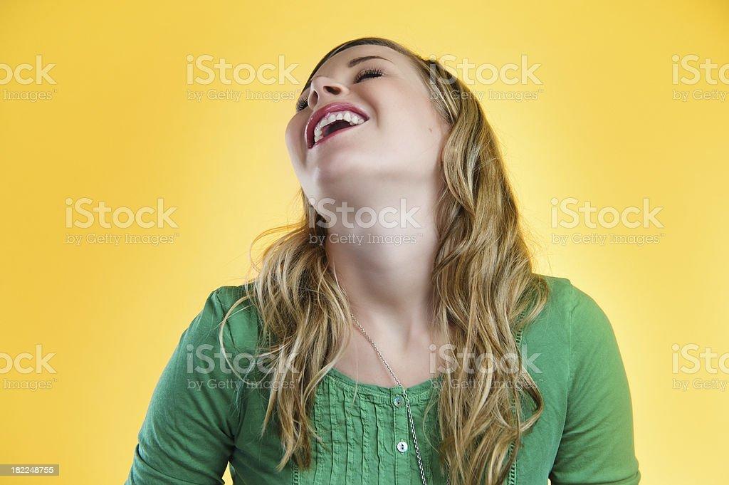 Yellow series - goofy laugh stock photo