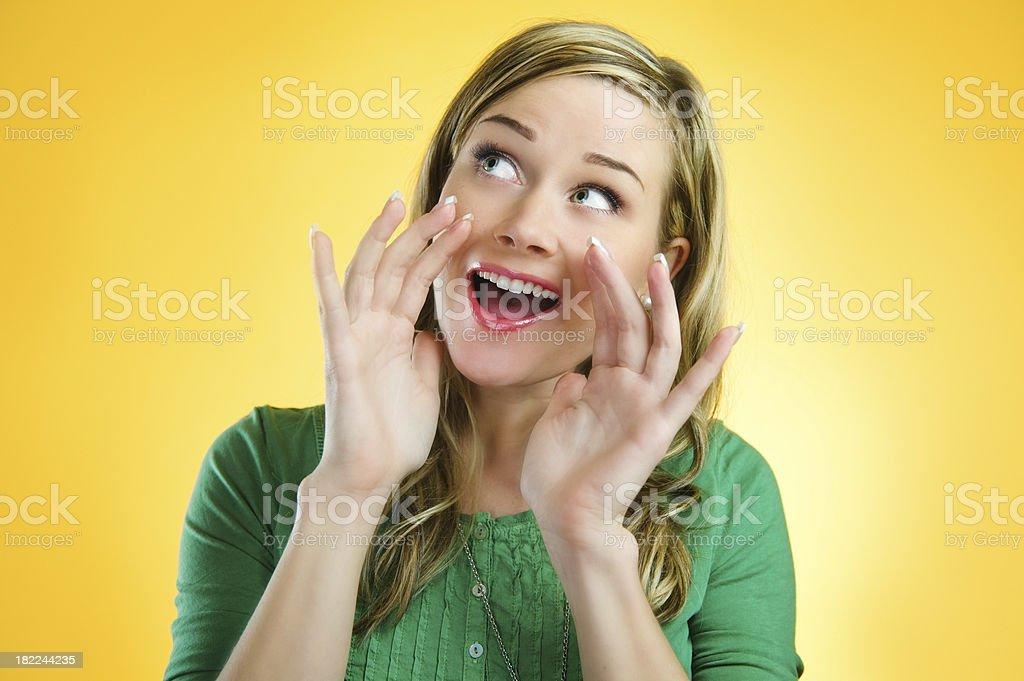 Yellow series - woman shouting royalty-free stock photo