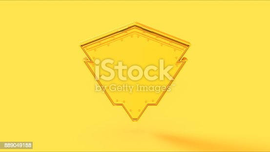 istock Yellow Shield Badge 889049188
