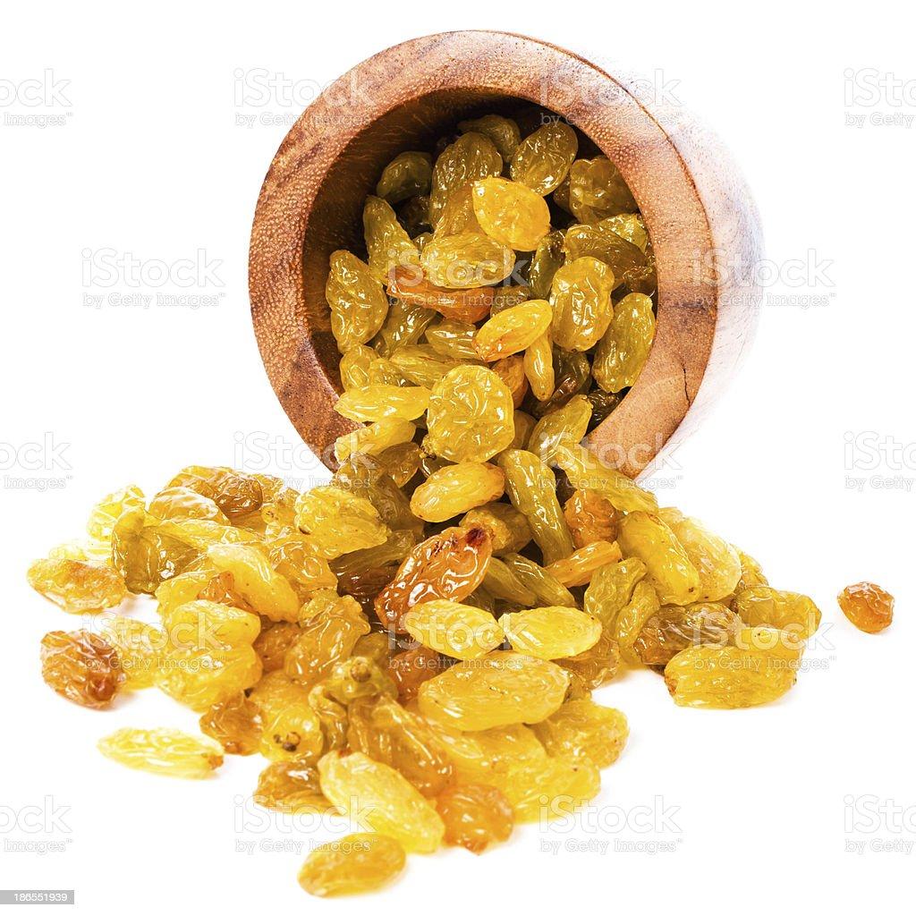 Yellow Shiny Raisins isolated on white background stock photo