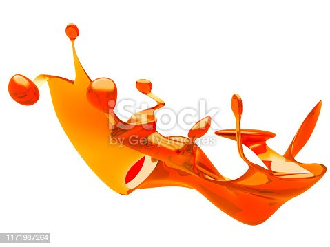 859844580 istock photo Yellow shiny transparent liquid splash on white background 1171987264