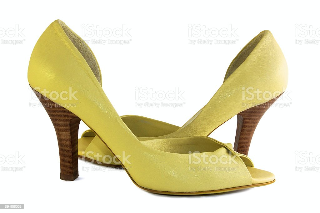 yellow shoes isolated on white royalty-free stock photo