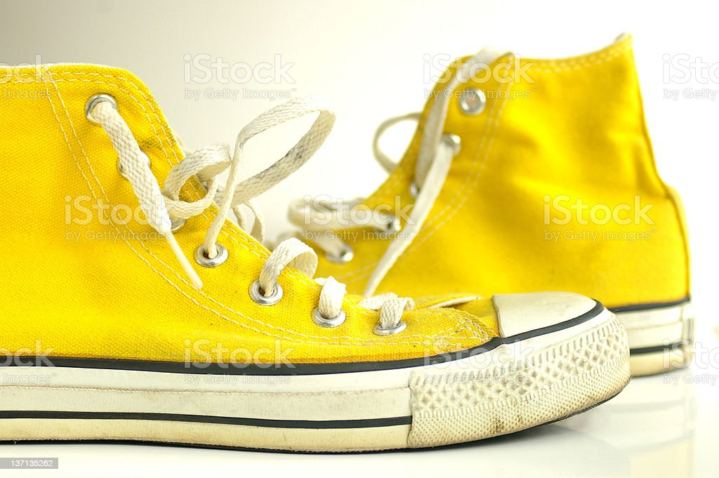 Yellow shoes stock photo