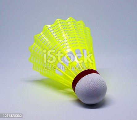 Yellow shuttlecock for badminton game
