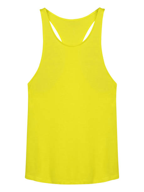 Yellow sleeveless t-shirt undershirt isolated on white background Yellow sleeveless t-shirt undershirt isolated on white background tank top stock pictures, royalty-free photos & images