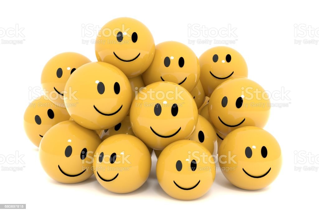 yellow smileys in social media concept on isolated white 3D rendering stock photo
