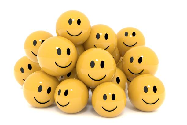 yellow smileys in social media concept on isolated white 3d rendering - smiley face stock photos and pictures