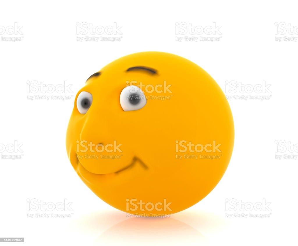 Yellow smiling round face, 3D rendering stock photo