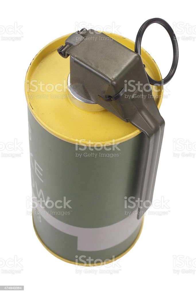 M18 Yellow Smoke Grenade stock photo