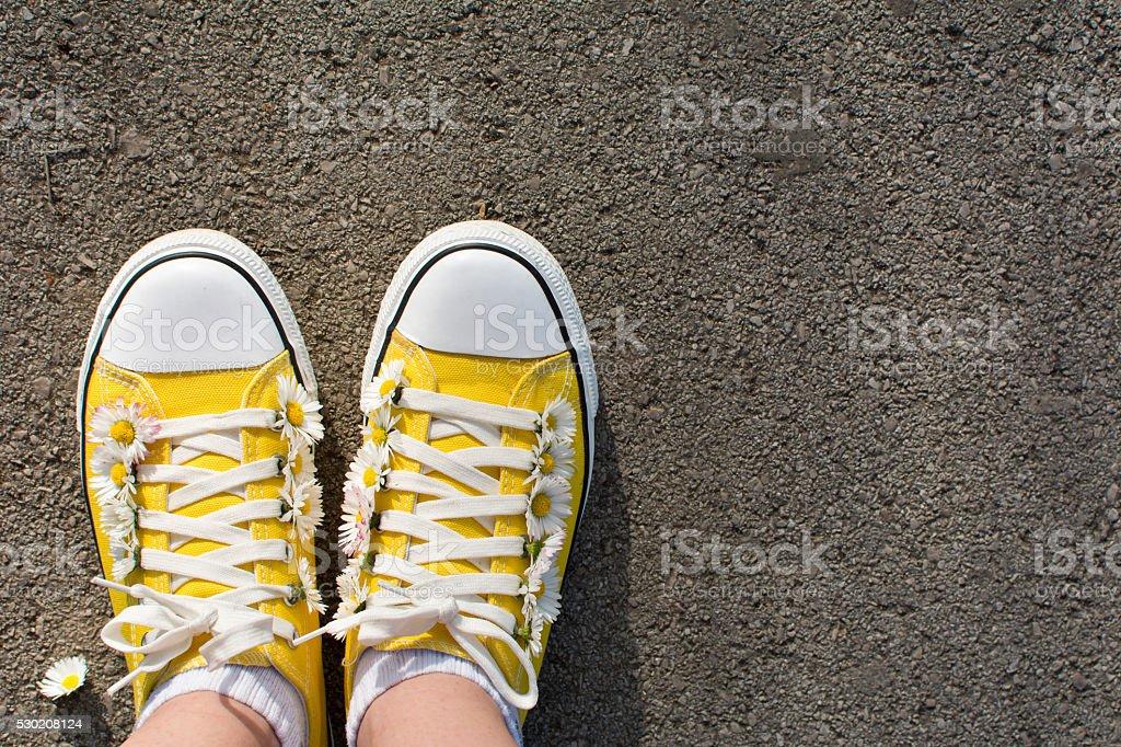 Gelbe Sneaker mit Gänseblümchen – Foto