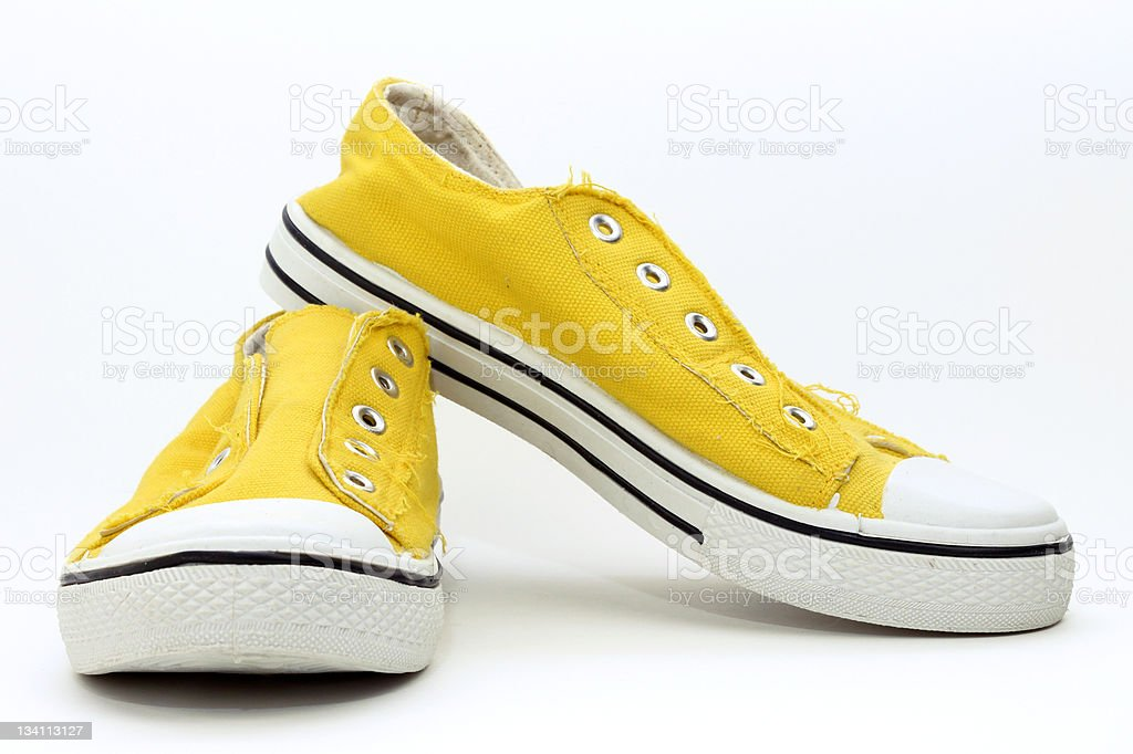 Yellow Sneakers royalty-free stock photo