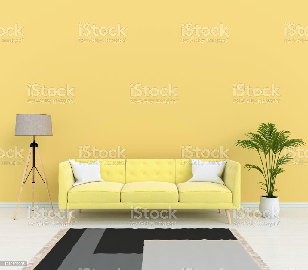 Gelbes Sofa Und Lampe Im Wohnzimmer 15d Rendering Stockfoto und mehr Bilder  von Behaglich
