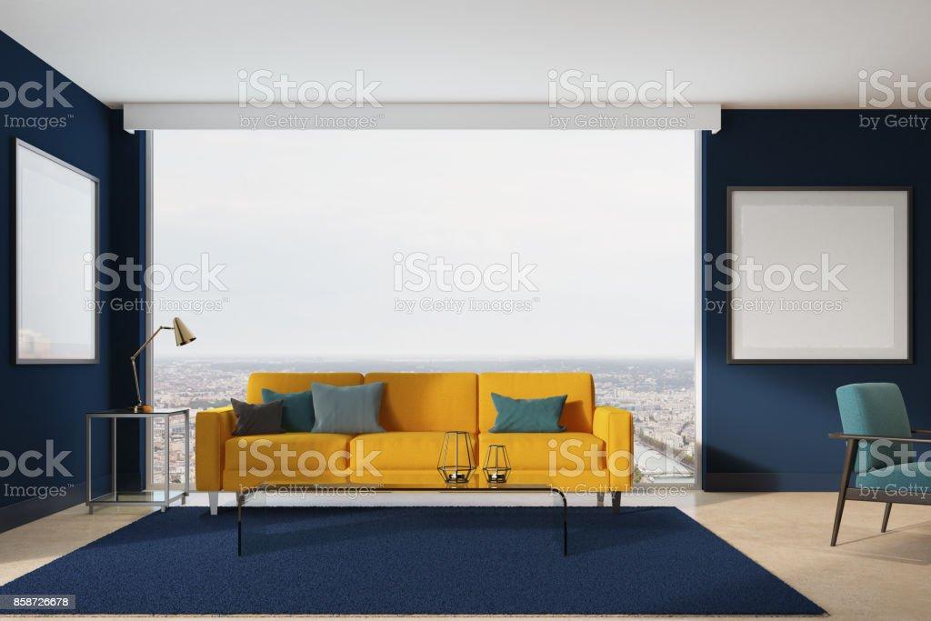Sala De Estar Sofá Amarillo Azul Foto De Stock Y Más Banco