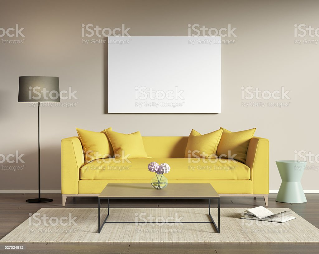 Yellow Sofa In A Modern Living Room Stockfoto und mehr ...