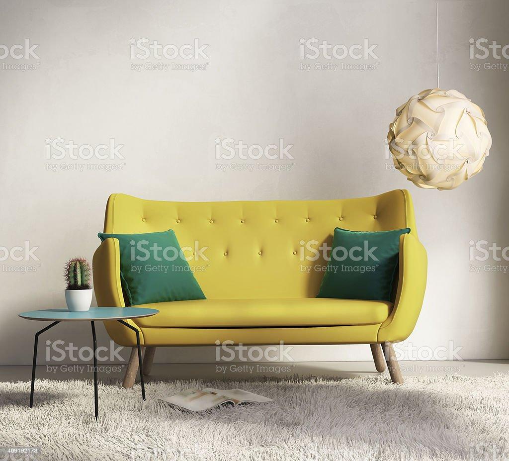 Yellow sofa in fresh interior living room