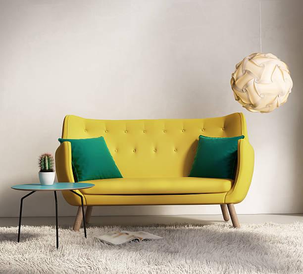 Yellow sofa in fresh interior living room stock photo