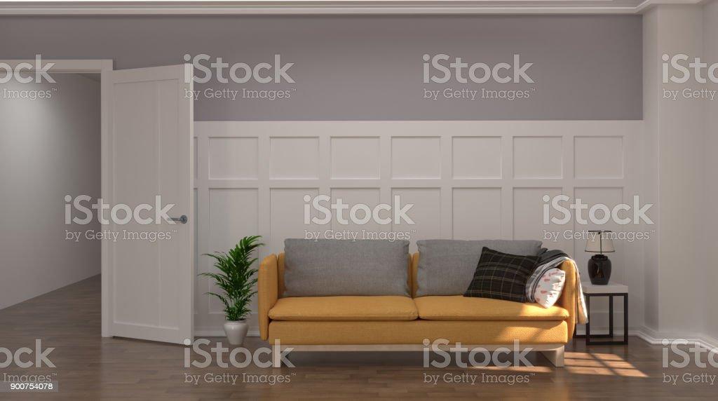 Gelbes Sofa Vor Grauen Und Weissen Wand Mit Lampe Und Sideboard In