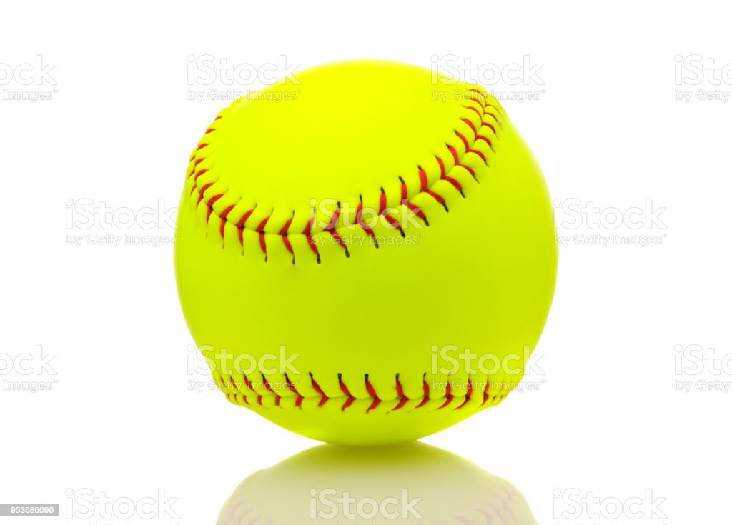 Yellow softball on white background with reflection.