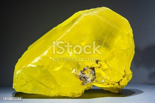 istock Yellow solid crystal of sulfur 1315672754