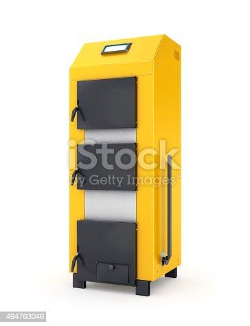 istock Yellow solid fuel boiler. 494763046