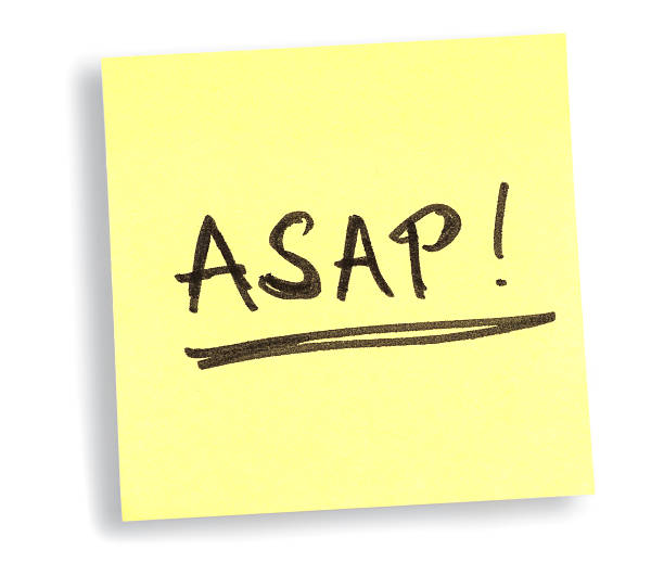 ASAP! yellow soon as possible memo ticket yellow soon as possible memo flyer  on white background ASAP stock pictures, royalty-free photos & images