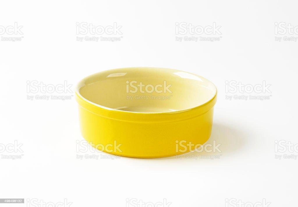 Yellow souffle dish stock photo