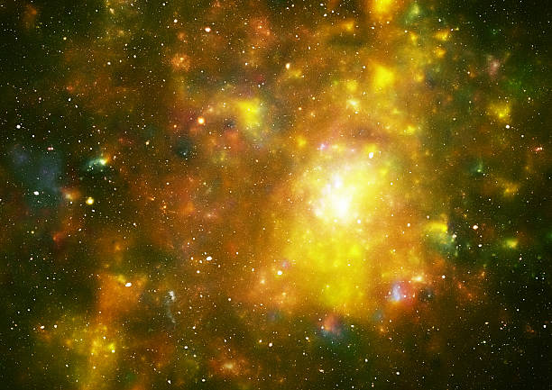 Yellow space galaxy stock photo