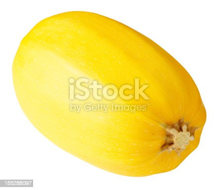 Spaghetti squash isolated on white background.  Exported at 16 bit, color corrected and retouched for maximum image quality.