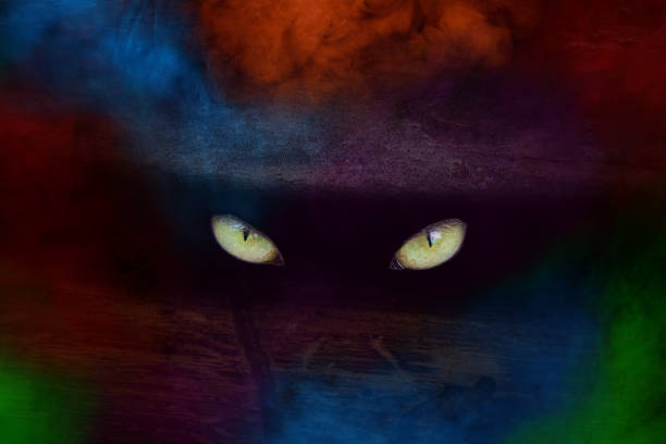 yellow sparkling eyes of a wild beast or forest ghost in a dark crack of a pine trunk close-up around a multicolored artistic fog stock photo
