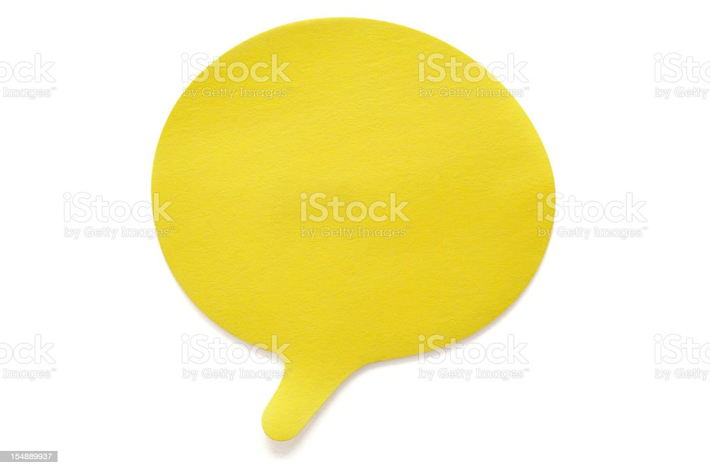 Yellow Speech Postit Note isolated on white royalty-free stock photo