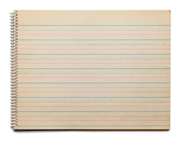 gul spiral notebook - linjerat papper bakgrund bildbanksfoton och bilder