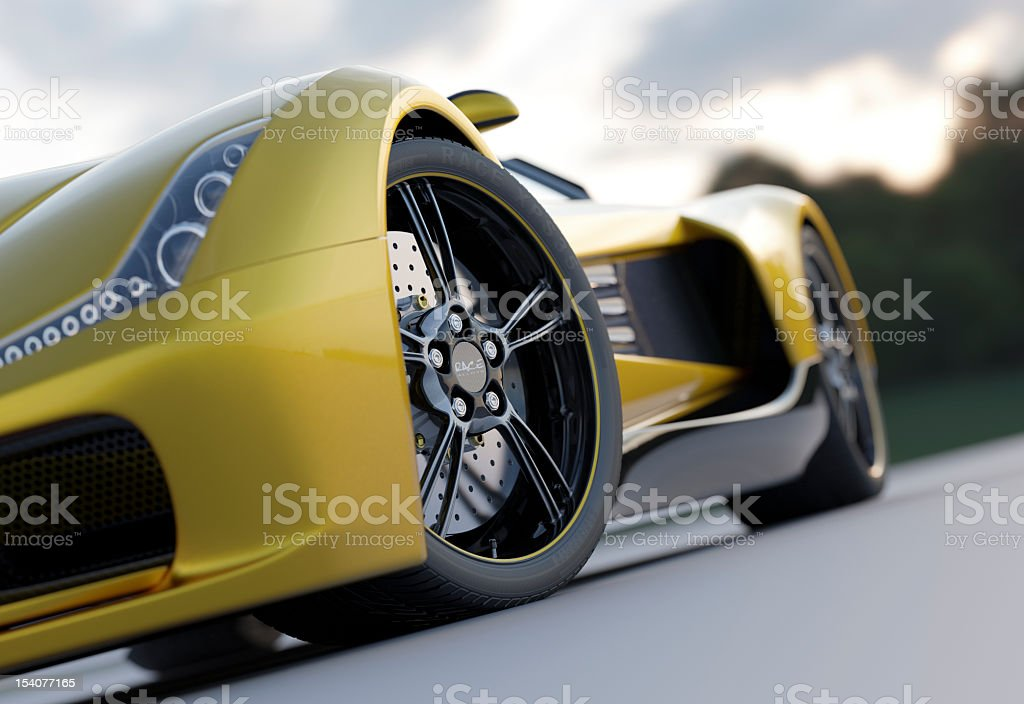 Yellow sport car from low view stock photo