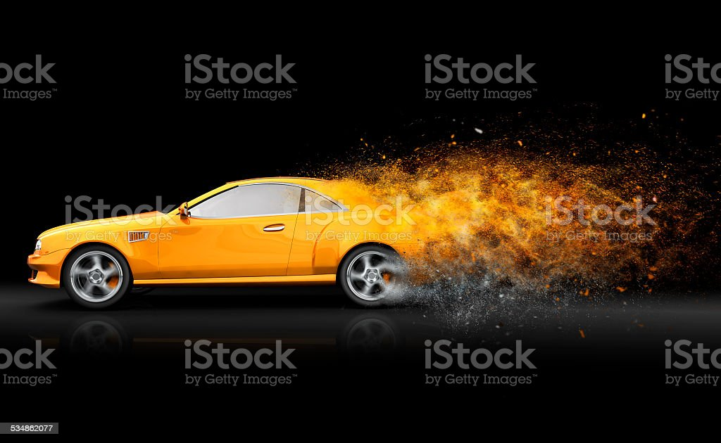 Gelbe sport coupe – Foto