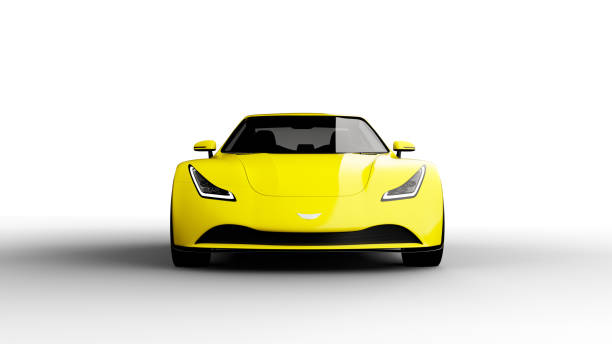 yellow sports car isolated on white background yellow sports car isolated on white background, photorealistic 3d render, generic design, non-branded sports car stock pictures, royalty-free photos & images