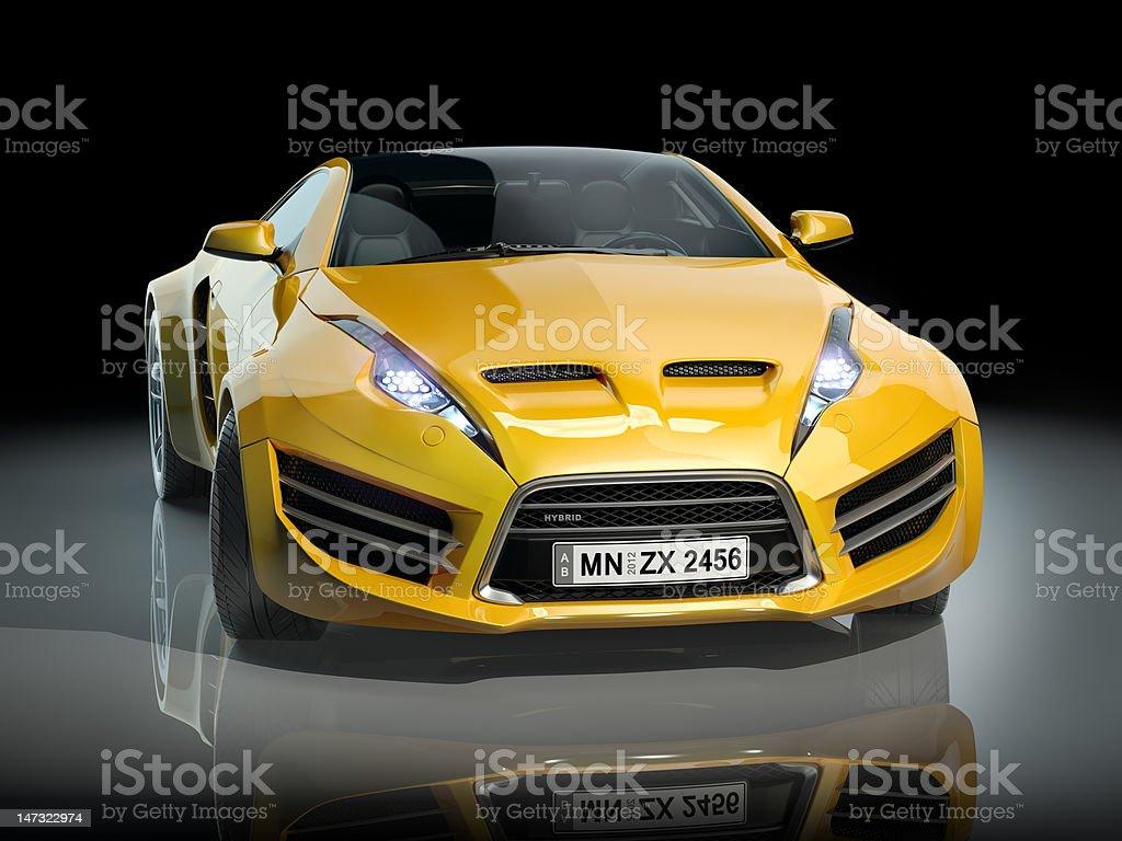 Yellow sports car on a black background royalty-free stock photo