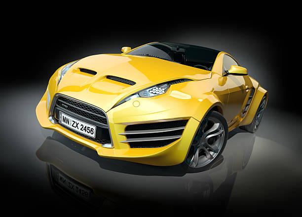 Yellow sports car on a black background stock photo
