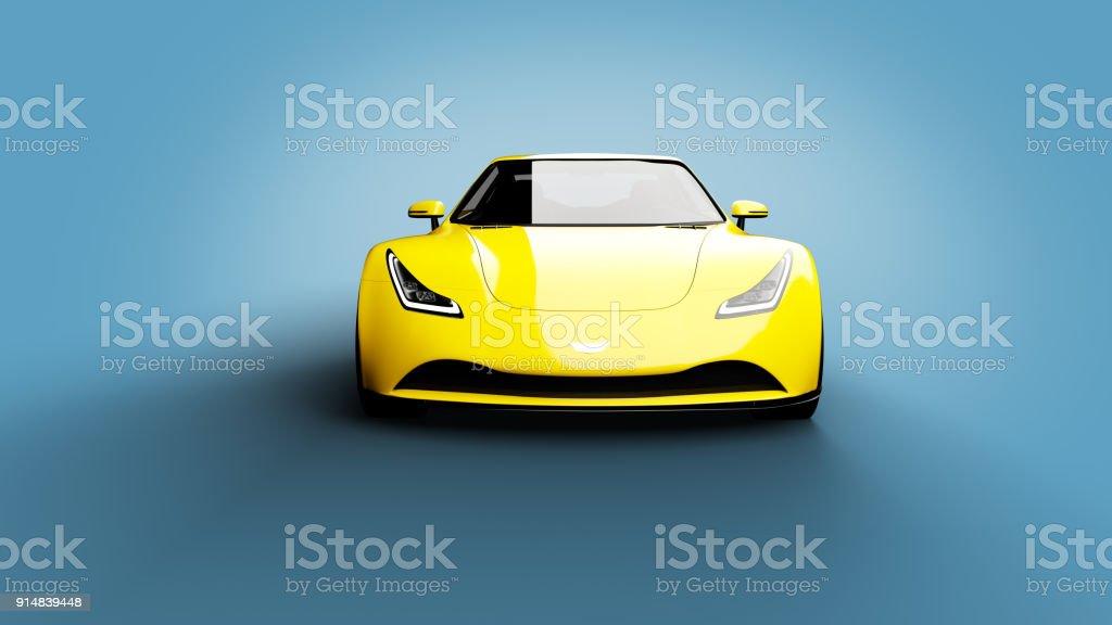 gelber Sportwagen auf blauem Hintergrund – Foto