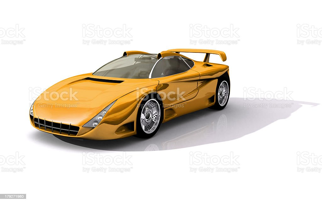 Yellow Sports Concept Car royalty-free stock photo