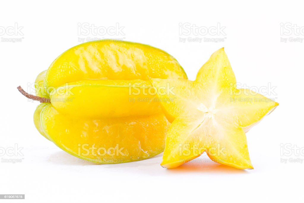 yellow star fruit carambola or star apple ( starfruit ) stock photo
