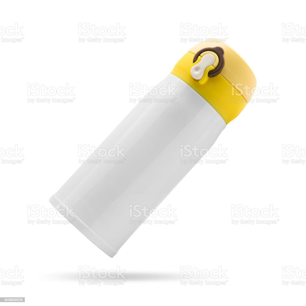 Yellow steel bottle isolated on white background. Insulated drink container. ( Clipping path ) - foto stock