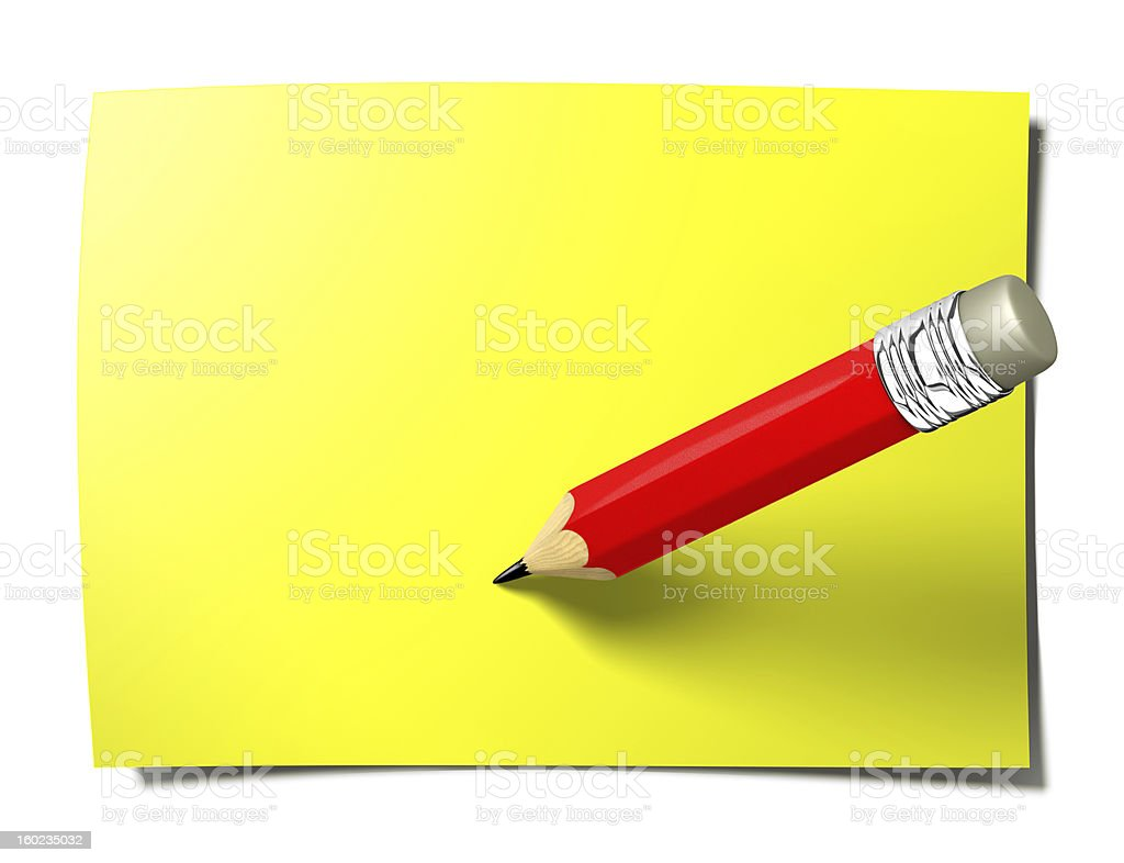 Yellow stick note with pencil royalty-free stock photo