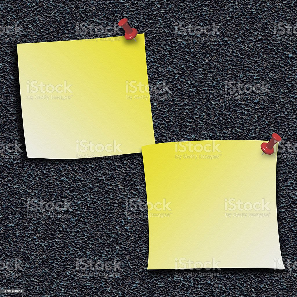 Yellow Stick Notes with push pins stock photo